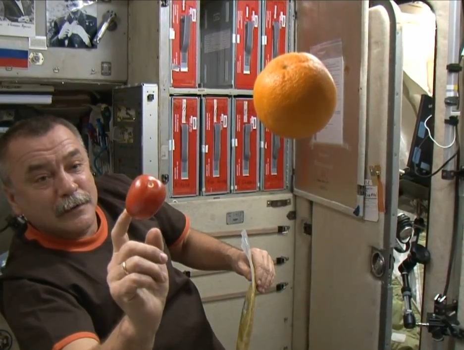 Mikhail Tyurin Plays With Food on ISS
