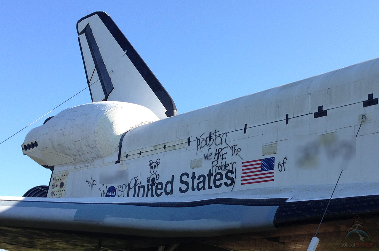 Space Shuttle Replica Vandalized with Graffiti in Houston
