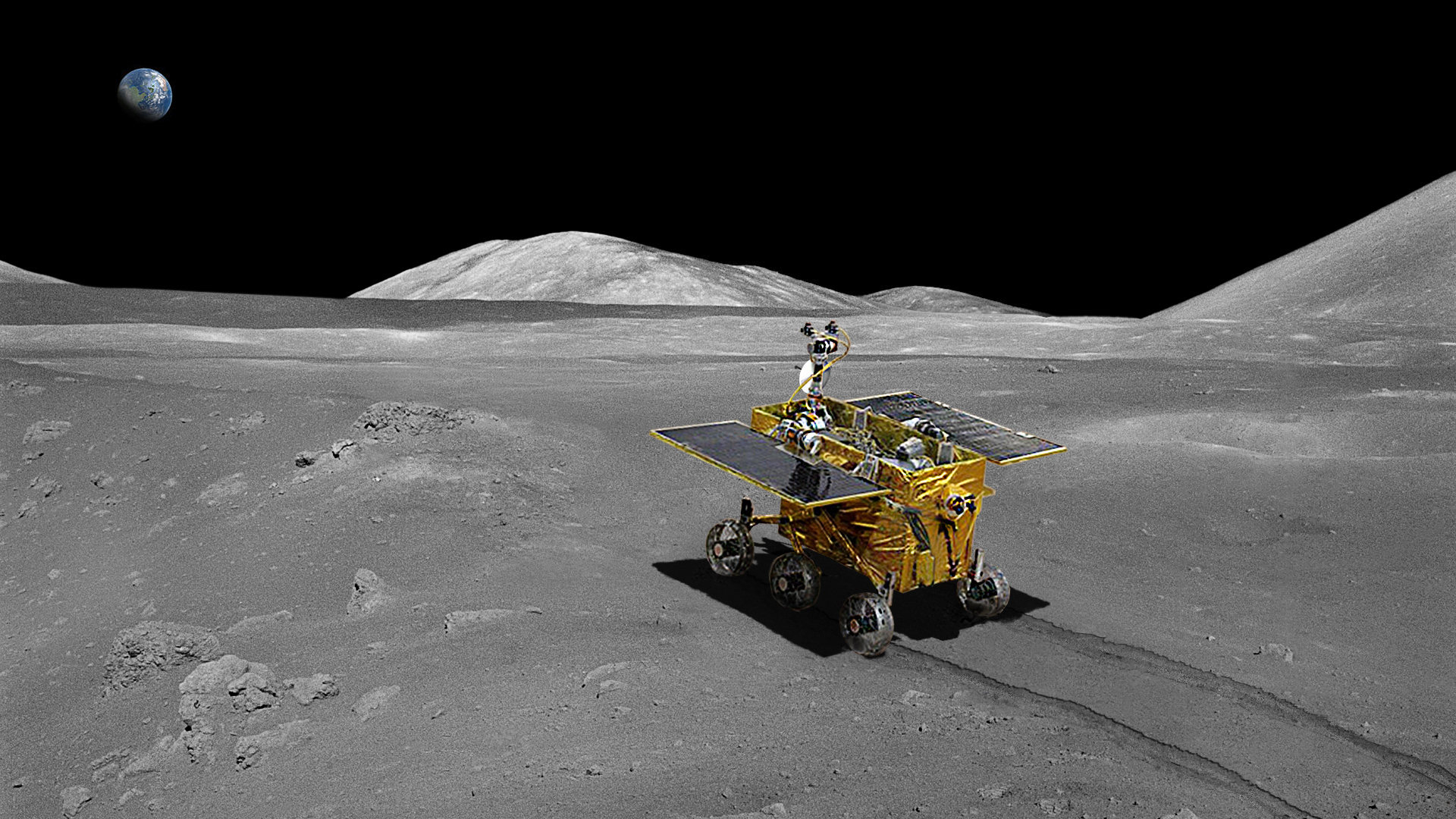 An artist's illustration of China's Yutu (Jade Rabbit) moon rover on the lunar surface. The rover and a lander are part of China's Chang'e 3 mission to the moon's Bay of Rainbows.