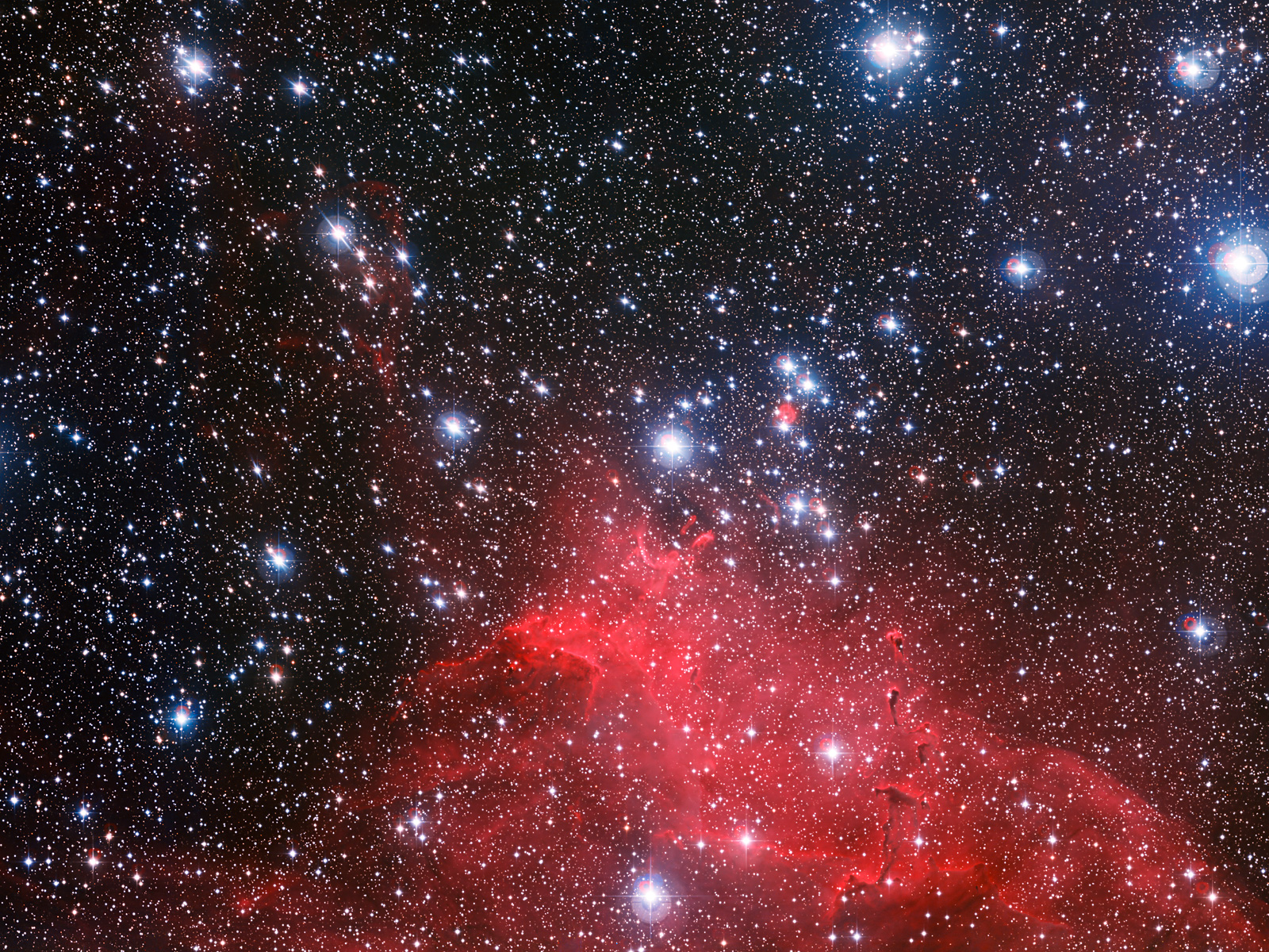 Clouds and NGC 3572 Star Cluster