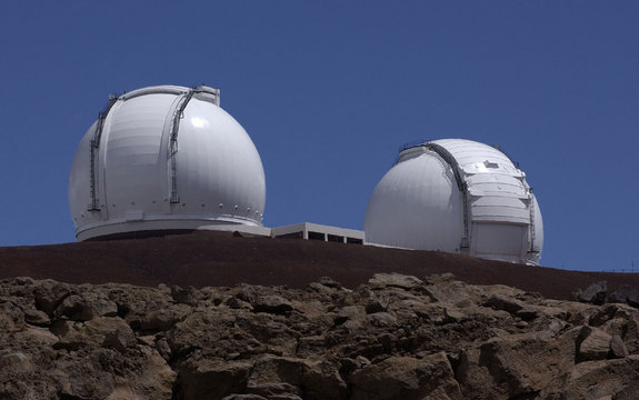 The Keck Telescopes in Hawaii.