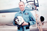 Apollo 15 astronaut Al Worden seen wearing his original NASA-issued blue flight jacket.