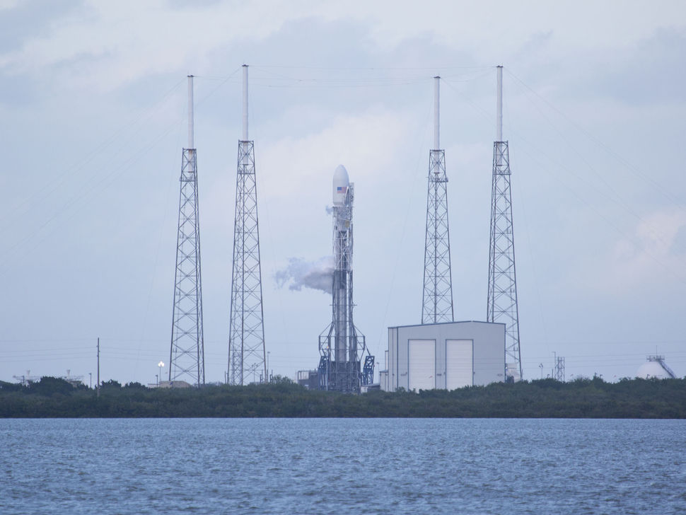 Falcon 9 Vertical on the Launch Pad for SES-8