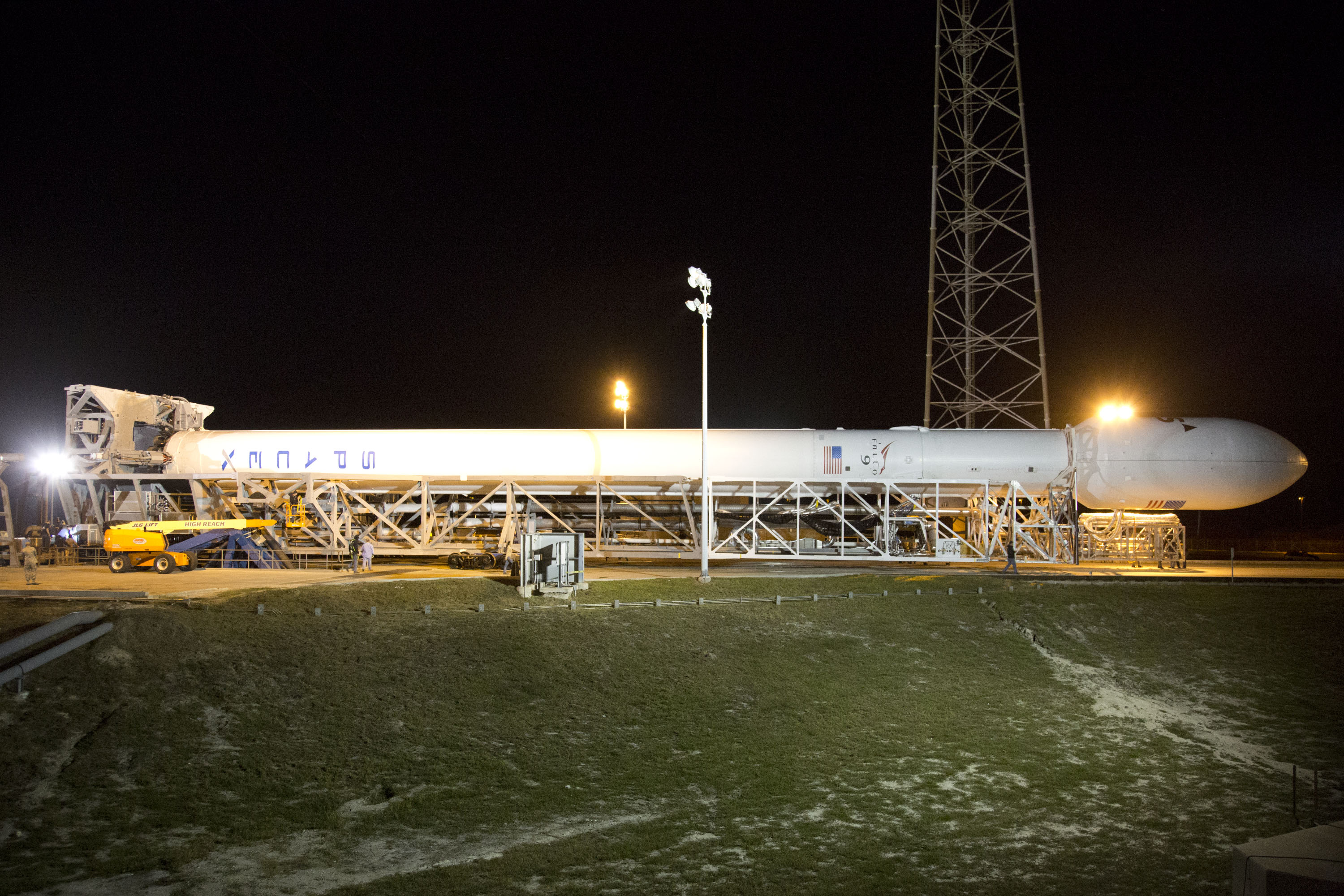Falcon 9 Horizontal on Launch Pad for SES-8
