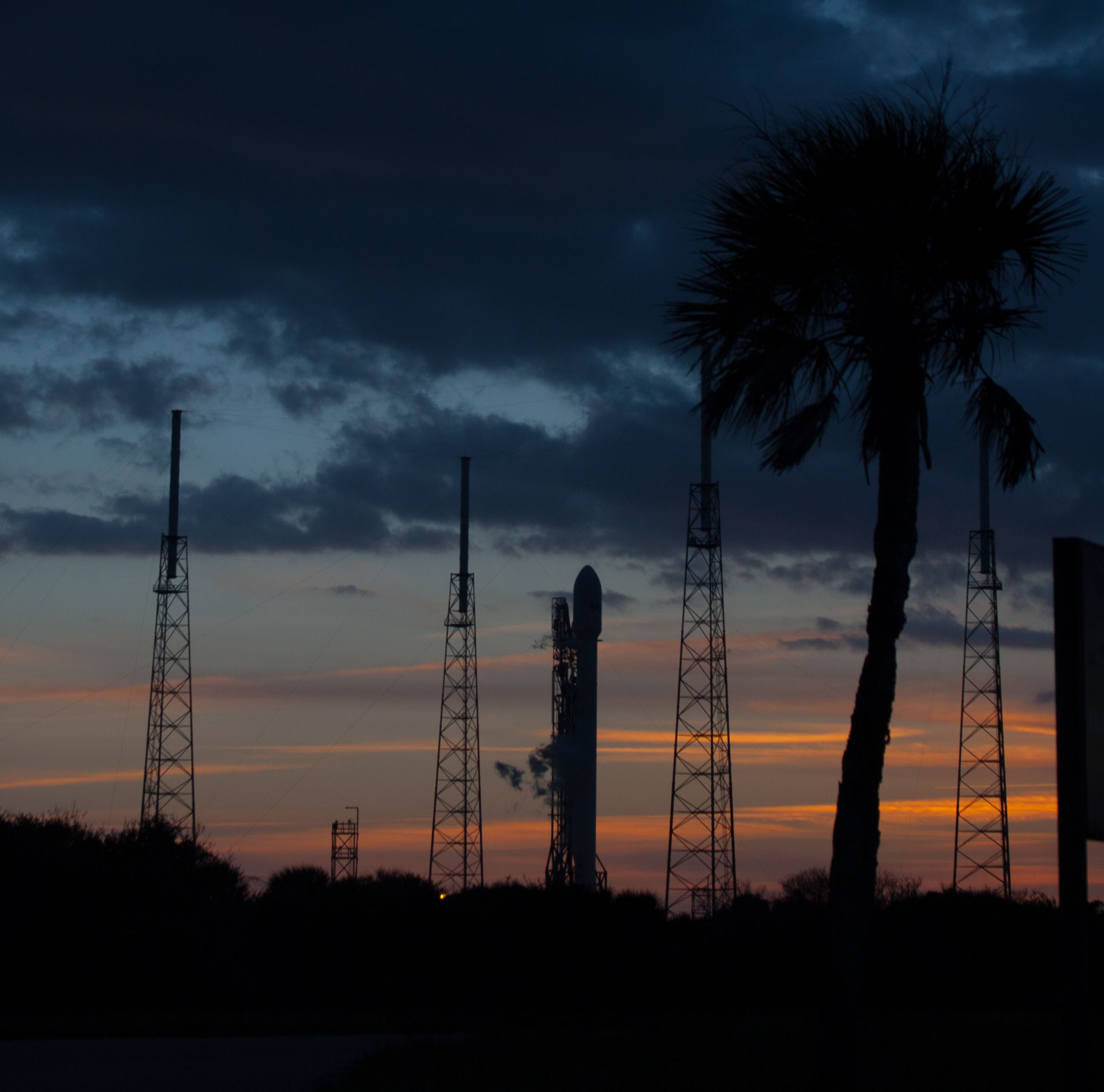 Falcon 9 Stands Ready on Launch Pad for SES-8 Satellite