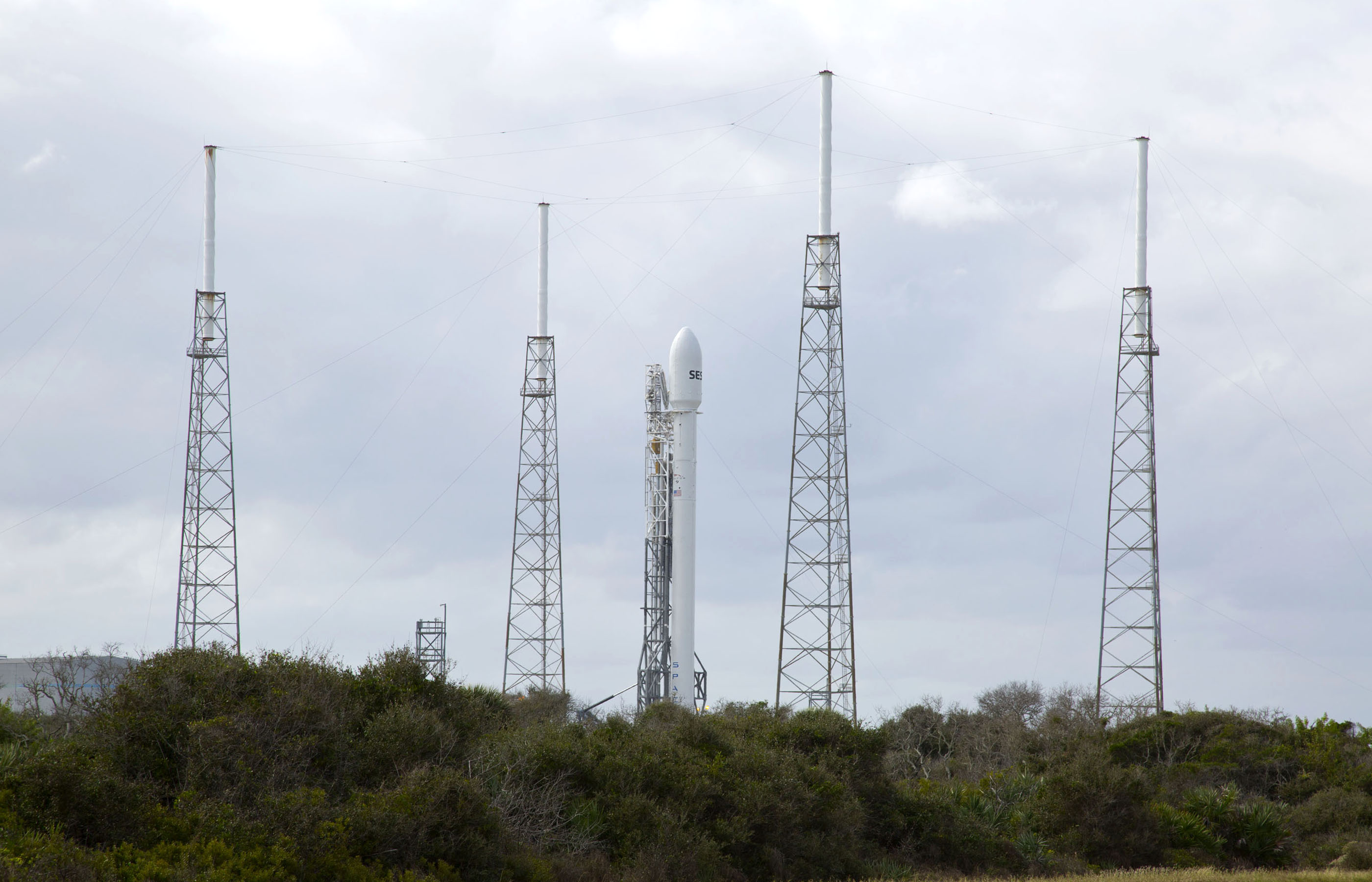 Falcon 9 Awaits Launch at Cape Canaveral
