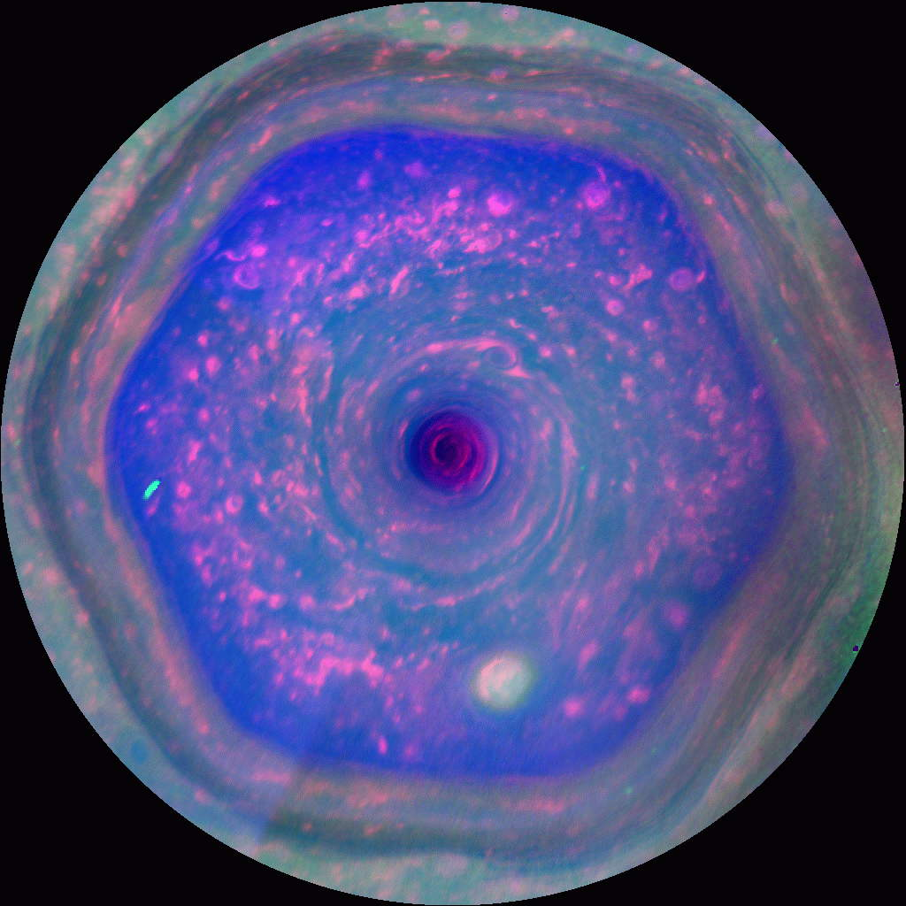 Bizarre Saturn Vortex Swirls in Stunning New NASA Video