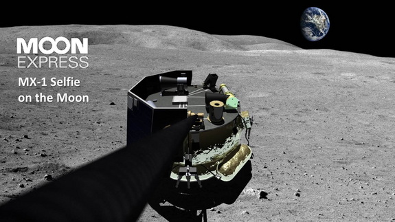 "Artist's concept of Moon Express' MX-1 lander taking a ""selfie"" photo on the moon."