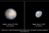 Hubble Space Telescope imaged the asteroid Vesta and the dwarf planet Ceres in 2007, both targets of NASA's Dawn mission.