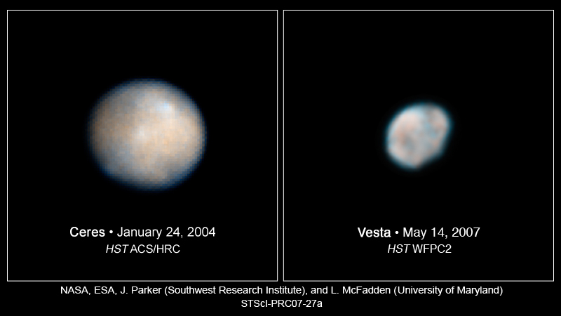 Vesta and Ceres Hubble View