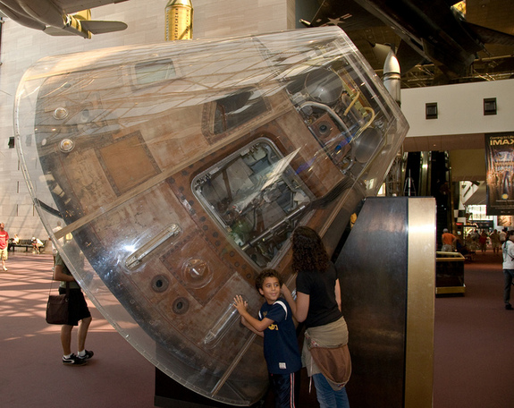 The Apollo 11 command module on display at the Air & Space Museum in Washington.