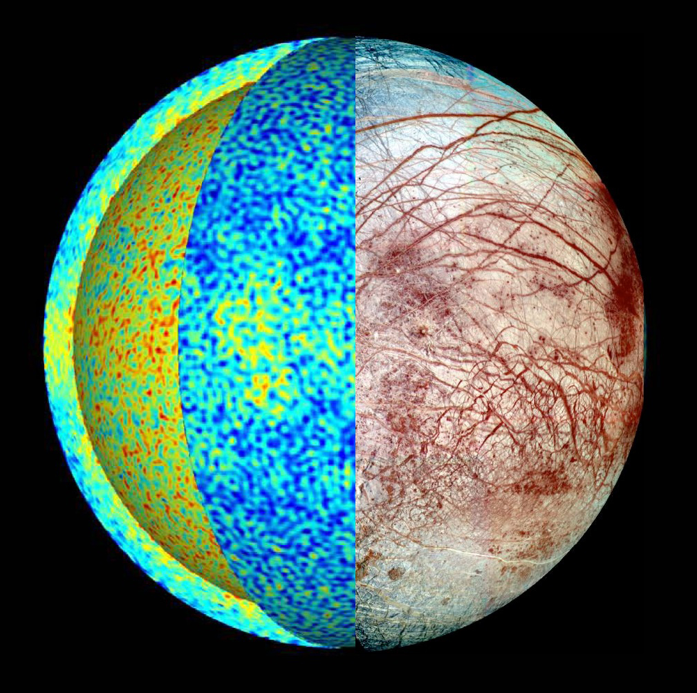 This rendering of Europa shows the temperature field in a simulation of the icy moon's global ocean dynamics, where hot plumes (red) rise from the seafloor and cool fluid (blue) sinks down from the ice-ocean border.