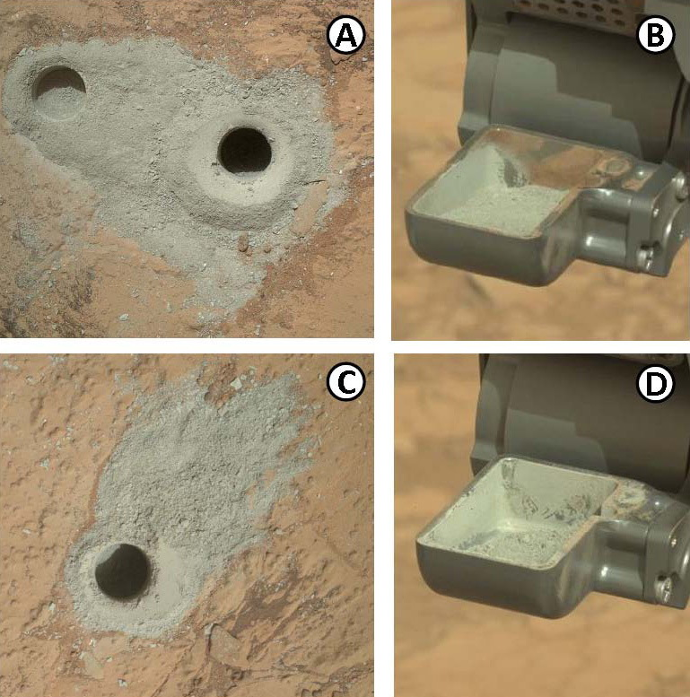 Mudstone Drill Holes and Drill Powders Made by Curiosity