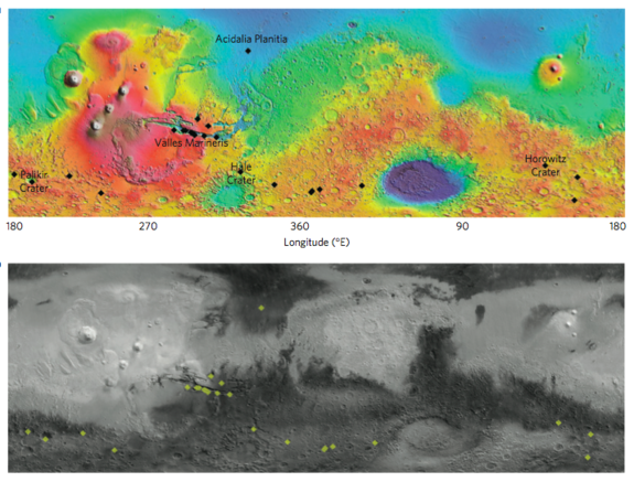 Map of the confirmed locations of dark streaks, or recurring slope lineae, on Mars.