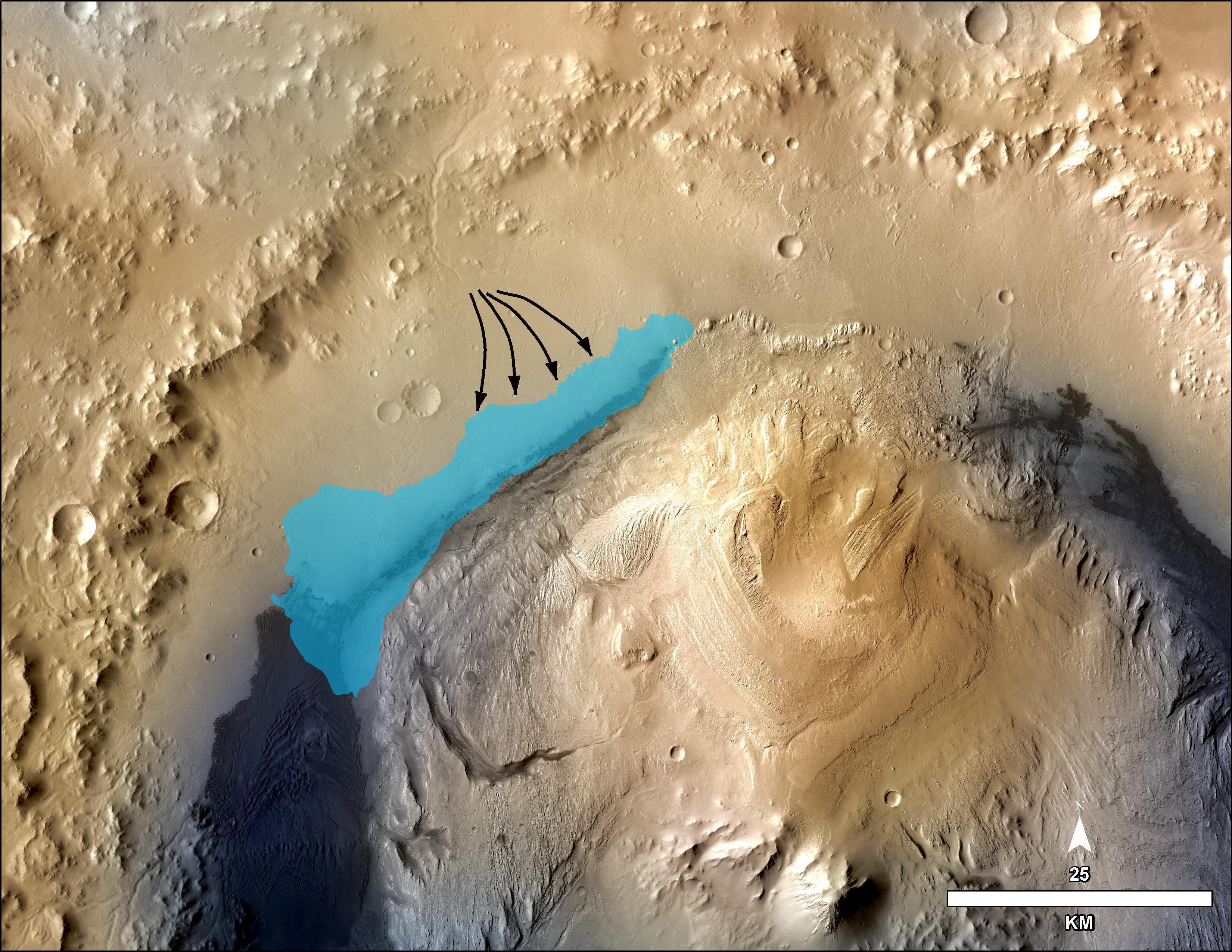 Possible Extent of Ancient Lake in Gale Crater
