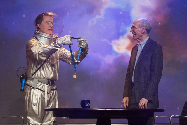 TV's Stephen Colbert Awards NASA Medal to Voyager 1 Scientist
