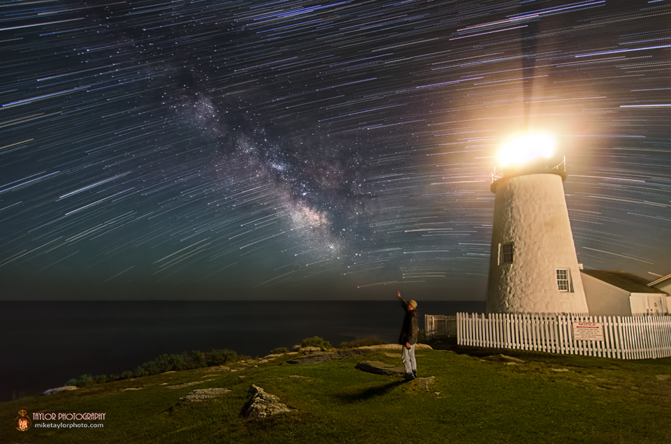 Star Trails and Milky Way Shine over Lighthouse by Mike Taylor