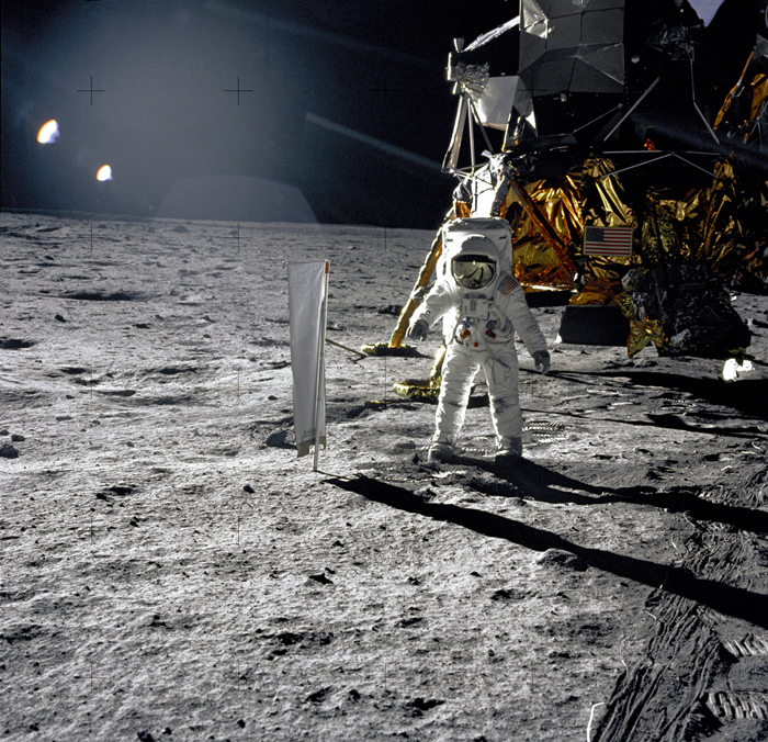 Space History Photo: Aldrin Next to Solar Wind Experiment