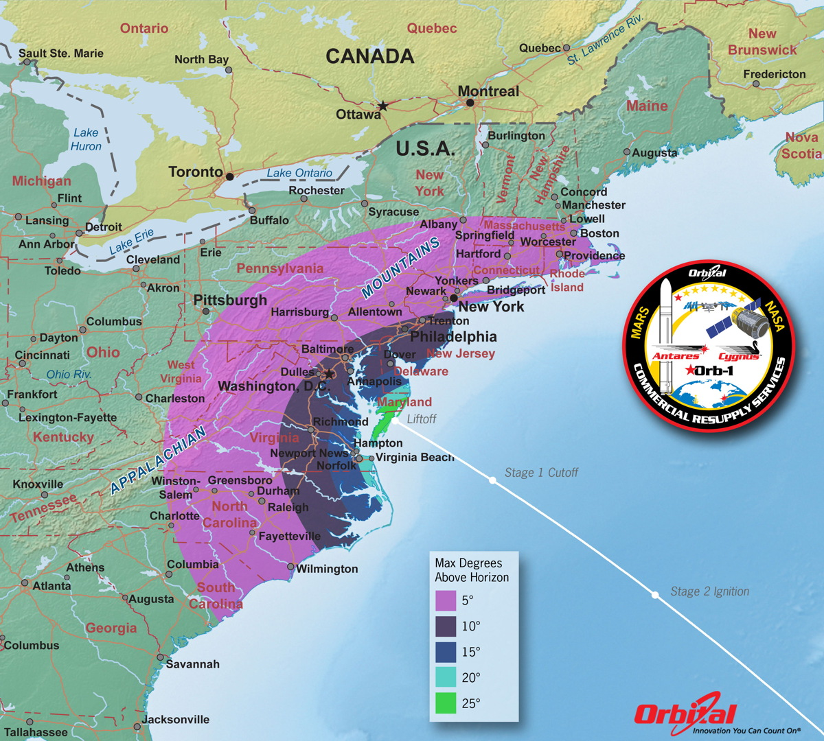 Maximum Elevation Map of Antares Launch, Dec. 18, 2013