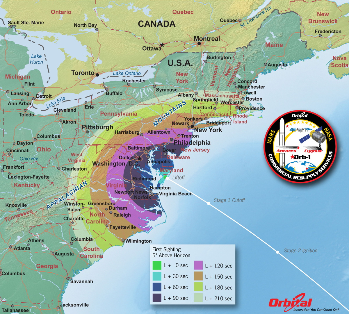 Time of First Sighting Map of Antares Launch, Dec. 18, 2013.