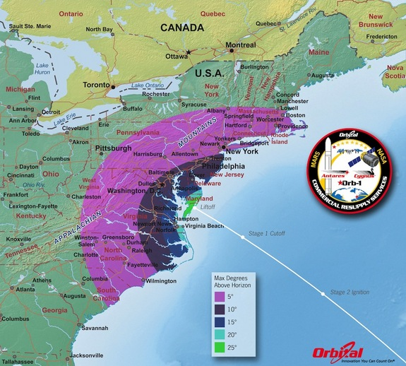 This map shows the maximum elevation (degrees above the horizon) that Antares will reach depending on the standpoint of viewers along the East Coast.