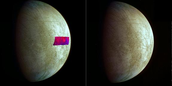 This image, using data from NASA's Galileo mission, shows the first detection of clay-like minerals on the surface of Jupiter's moon Europa. The clay-like minerals appear in blue in the false-color patch of data from NASA's Galileo spacecraft. Areas rich in water ice appear in red.