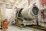 Orbital Sciences' Cygnus capsule was mated to Antares the night of Dec. 10, 2013, ahead of its planned Dec. 18 launch.