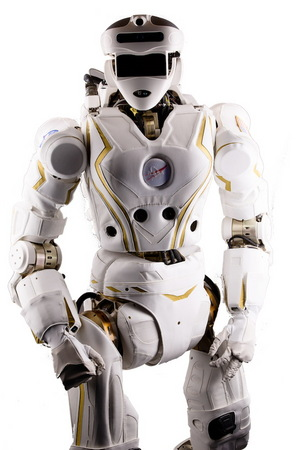 A view of NASA's humanoid Valkyrie robot from the front.