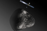 An artist's impression of the Rosetta orbiter deploying the Philae lander to comet 67P/Churyumov–Gerasimenko in 2014.