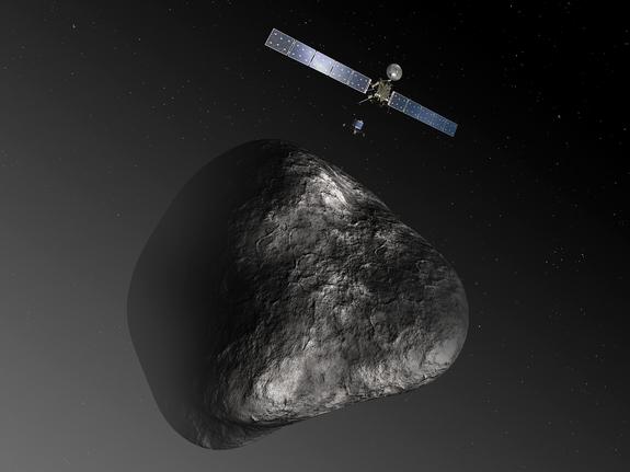 An artist's impression of the Rosetta orbiter deploying the Philae lander to comet 67P/Churyumov–Gerasimenko in 2014.