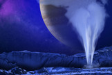 An artist's illustration of Jupiter's icy moon Europa, with a water geyser erupting in the foreground while Jupiter appears as a backdrop. Images from the Hubble Space Telescope suggest Europa may have water plumes like Saturn's moon Enceladus. Image released Dec. 12, 2013.