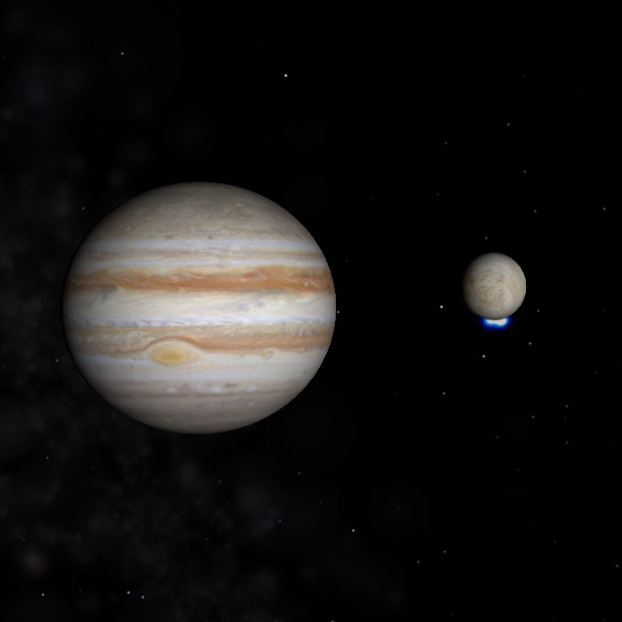 Jupiter and Europa with Water Vapor Plumes