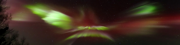 LeRoy Zimmerman sent SPACE.com this beautiful panoramic image of an aurora dancing near Fairbanks, Alaska on Dec. 7, 2013. Zimmerman took about 500 shots in half an hour with two-second exposures about every three seconds using a Canon 6D camera.