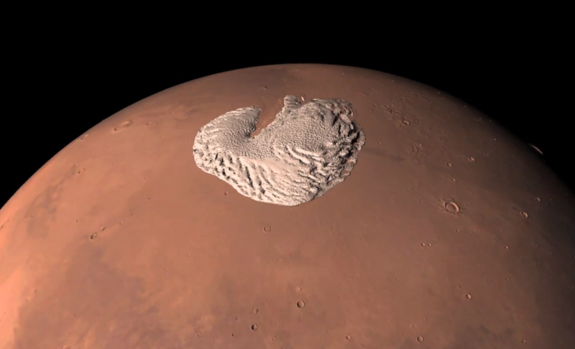 ESA's Mars Express provided data for a new animation of the Martian north pole.