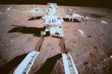 "China's lunar rover Yutu (""Jade Rabbit"") is seen by a camera on the country's Chang'e 3 lander after both successfully landed on the moon together on Dec. 14, 2013. It is China's first lunar rover mission and the first soft-landing on the moon in 37 years."