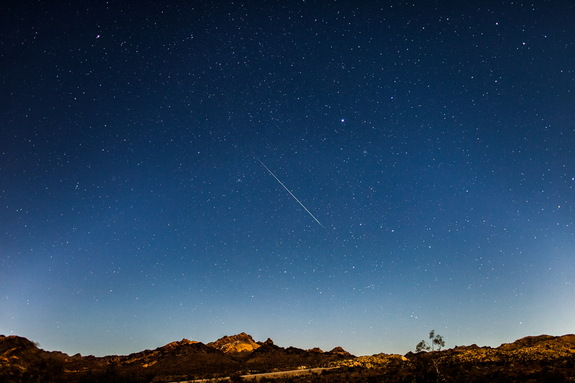 Astrophotographer Tyler Leavitt sent in a photo of a Geminid meteor taken Dec. 14, 2013, outside of Las Vegas, NV.