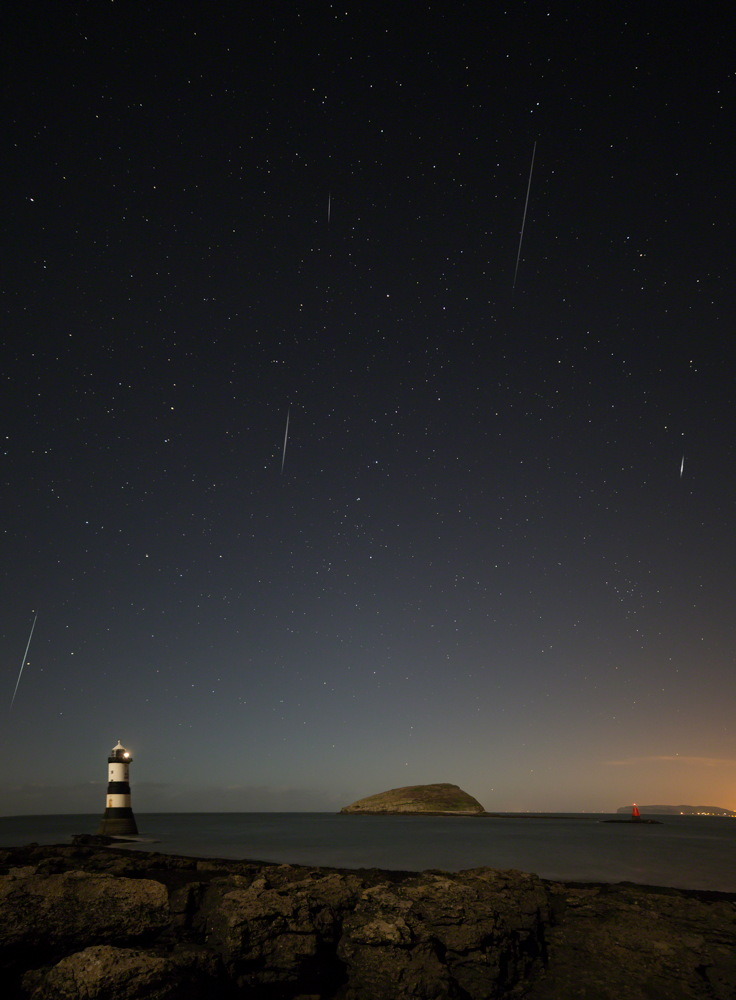 Stack of 2013 Geminid Meteors Over Anglesey, North Wales, UK.