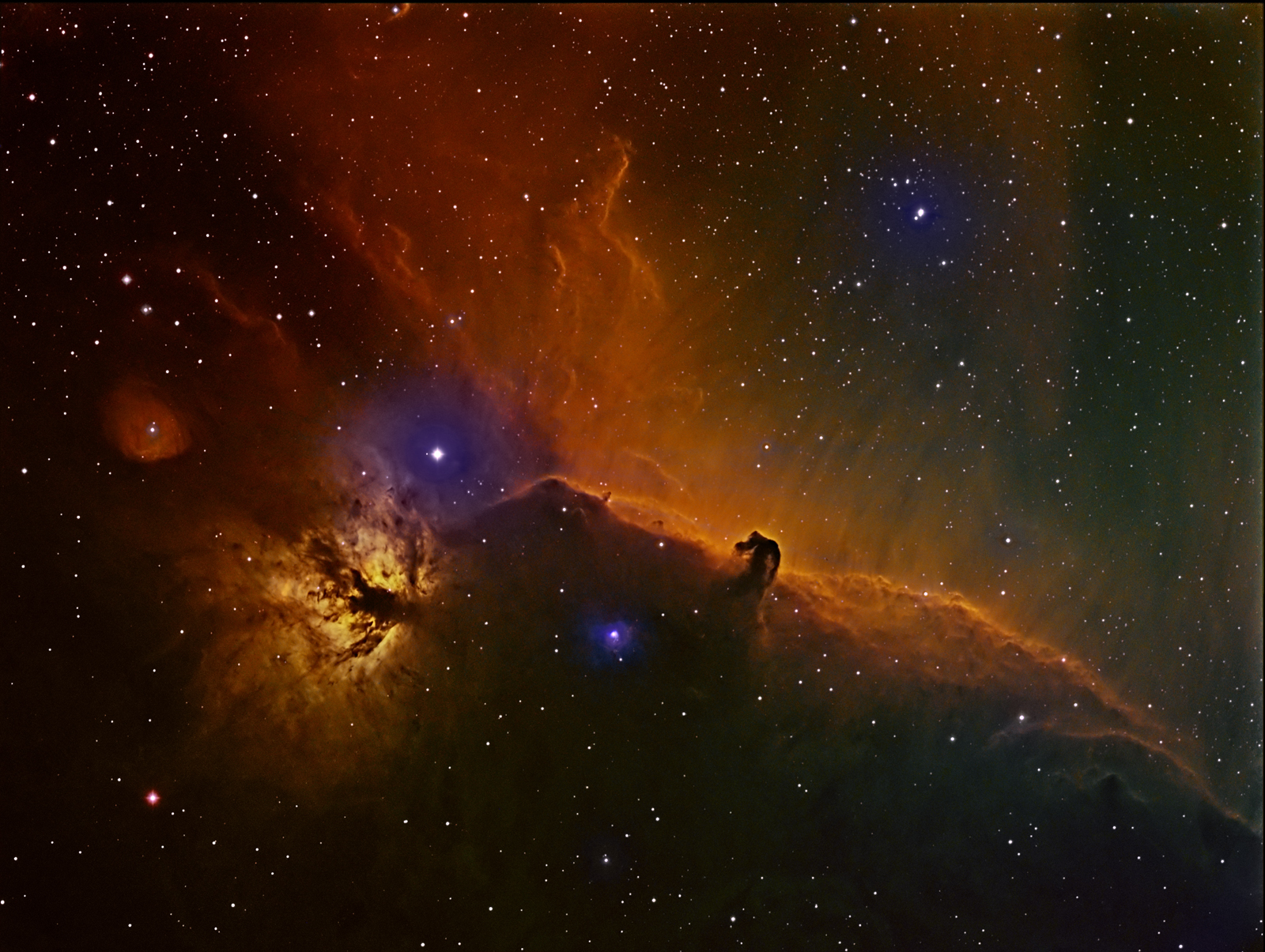 Cosmic Horsehead Dances with Flame Nebula in Amateur Astronomer's Photo