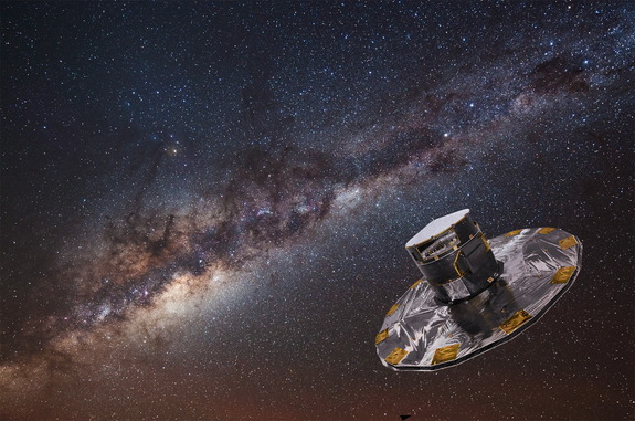 Artist representation of the Gaia spacecraft mapping the stars in the Milky Way galaxy.