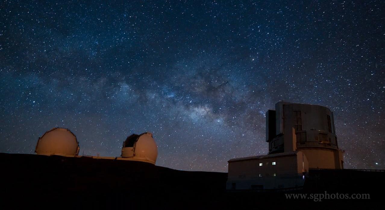 Time-Lapse Video Still of Observatories Atop Mauna Kea, Hawaii
