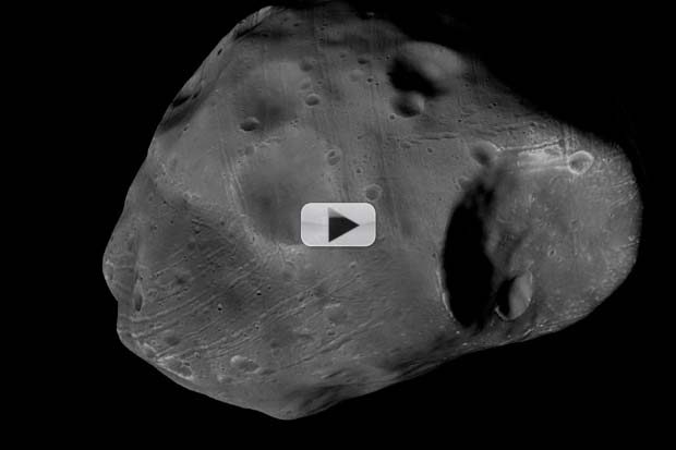 Mars Moon Phobos Fly-Around Created From Spacecraft Photos | Video