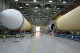 The Delta IV Heavy Lift rocket that will be used for Orion's first mission, Exploration Flight Test-1, is in the final assembly area at United Launch Alliance's factory in Decatur, Ala.