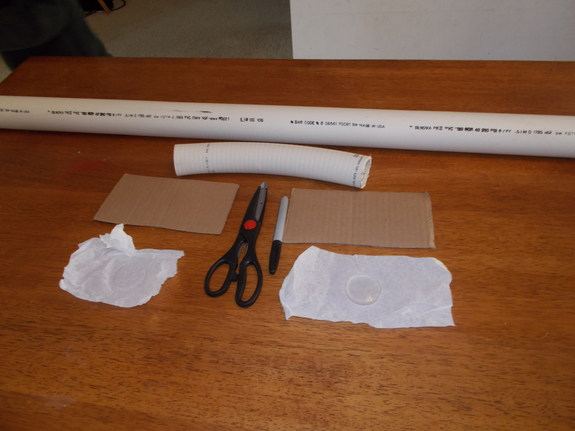 Materials for a PVC-pipe telescope.