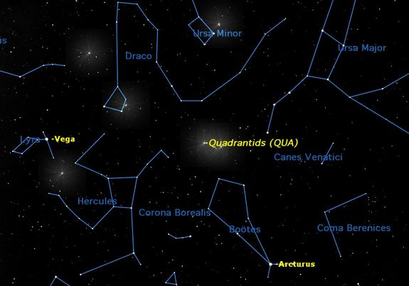 Thursday and Friday, Jan. 2 and 3, between midnight and dawn. The Quadrantid meteor shower peaks at 3 p.m. EST on January 2, during daylight. The best times to observe will be Thursday morning and Friday morning, between midnight and dawn. The meteors appear to radiate from a point between northern Bootes and the handle of the Big Dipper, once part of an obsolete constellation called Quadrans Muralis, the Wall Quadrant.