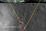 This panorama shows China's Chang'e 3 moon lander and its Yutu lunar rover shortly after it drove down the ramp to the surface. Yellow lines connect craters seen in the panorama and the LROC image (taken later after the rover had moved by the Lunar Reconnaissance Orbiter). Red lines indicate approximate field of view of the panorama. Image released on Dec. 30, 2013.