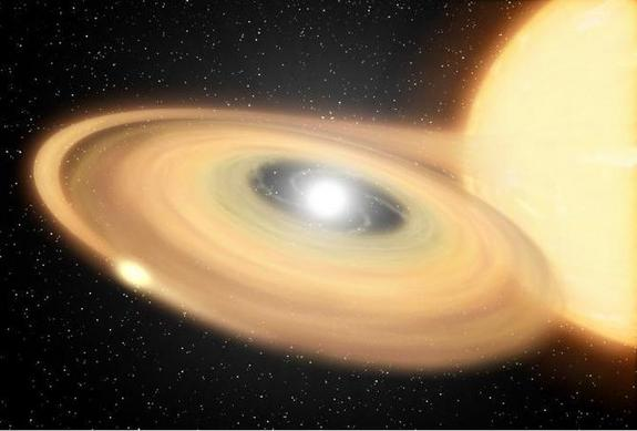 An artist's concept of a white dwarf stealing gas from a larger companion star.