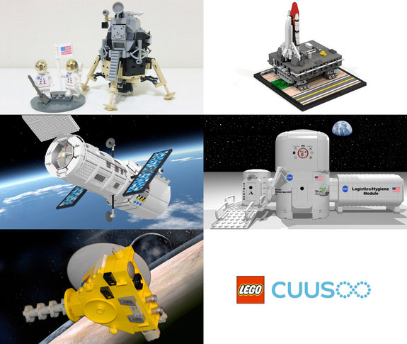 Fan-designed LEGO spacecraft now up for vote on LEGO CUUSOO, including Apollo 11 Lunar Mission, Space Shuttle Crawler Transporter, Hubble Space Telescope, NASA Deep Space Habitat and New Horizons Spacecraft.