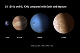 This artist illustration compares the sizes of exoplanets GJ 436b and GJ 1214b with Earth and Neptune. Hubble Space Telescope observations suggest the exoplanets are blanketed with clouds. Image released Dec. 31, 2013.