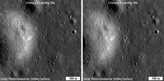 NASA Lunar Reconnaissance Orbiter Camera (LROC) side by side imagery shows before and after landing locale of China's Change'3 mooncraft.