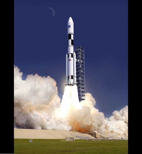 Artist's conception of a Space Launch System (SLS) launch.